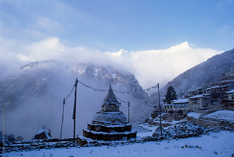 Namche Bazaar after a snow storm. Nepalese Himalayas. Nepal. by Hugh Sitton for Stocksy United