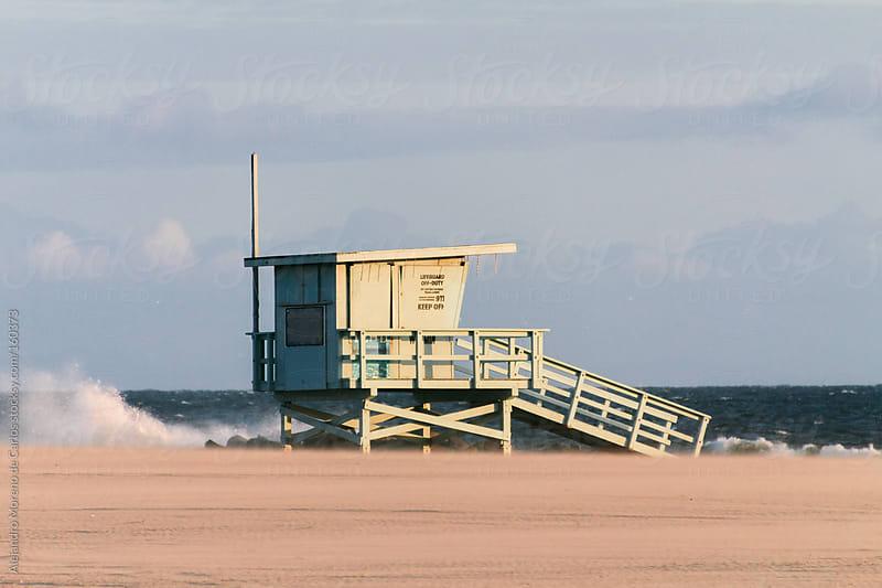 Lifeguard cabin on the beach in Los Angeles, California by Alejandro Moreno de Carlos for Stocksy United