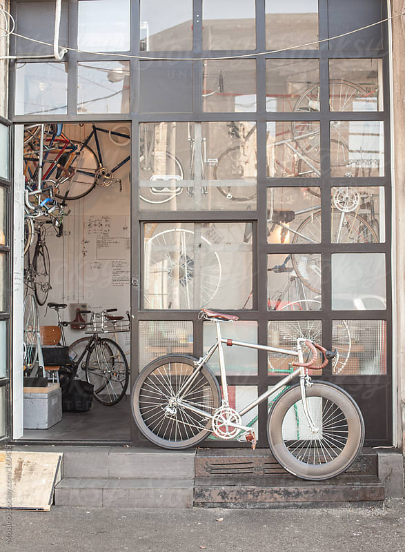 Entrance to the Bicycle Shop by Mosuno for Stocksy United