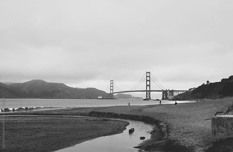Landscape with beach and the Golden Gate Bridge in San Francisco by michela ravasio for Stocksy United