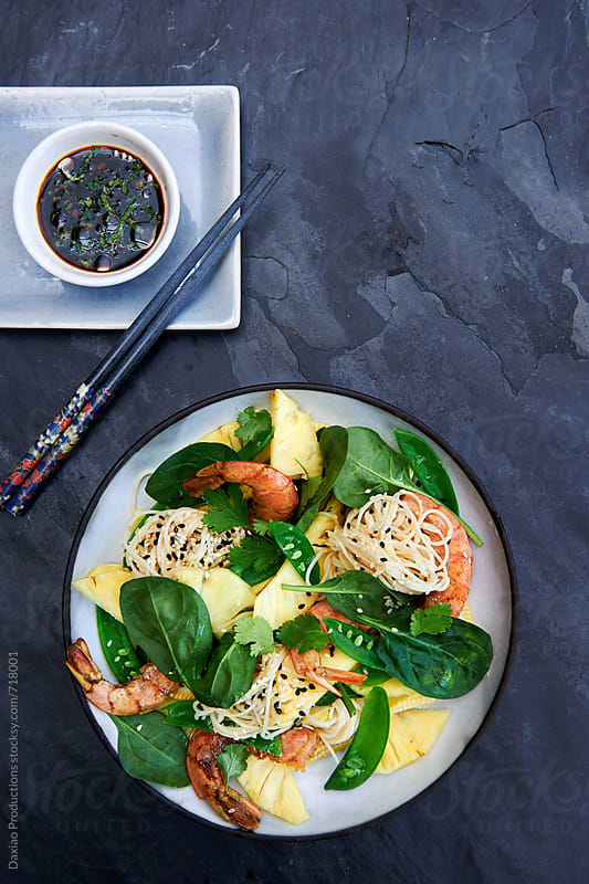 Asian inspired fresh prawn salad by Daxiao Productions for Stocksy United