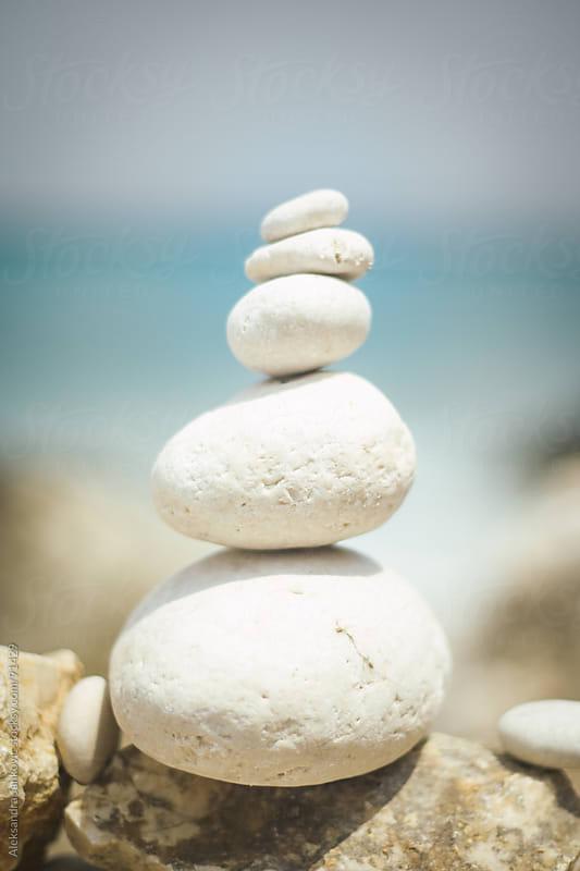 Zen stones on the beach by Aleksandra Jankovic for Stocksy United
