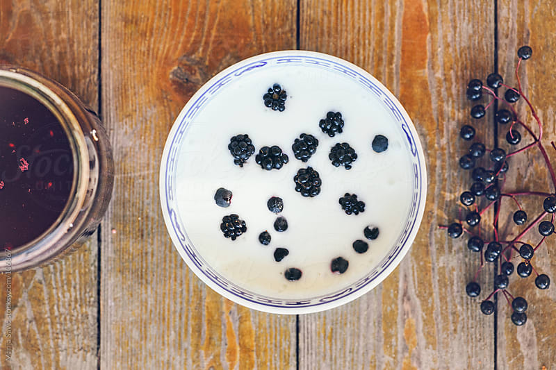 Natural yogurt with fresh blueberries.  by Marija Savic for Stocksy United