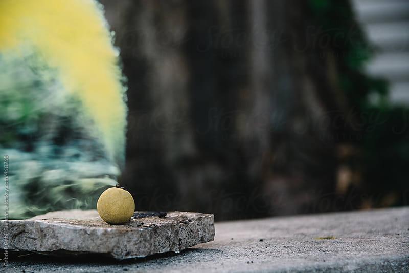 Yellow smoke bomb set off by Gabriel (Gabi) Bucataru for Stocksy United