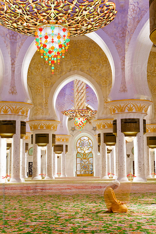 The largest Ornate chandelier in the world hanging from the main dome inside the prayer hall of Sheikh Zayed Bin Sultan Al Nahyan Mosque, Abu Dhabi, United Arab Emirates, UAE by Gavin Hellier for Stocksy United