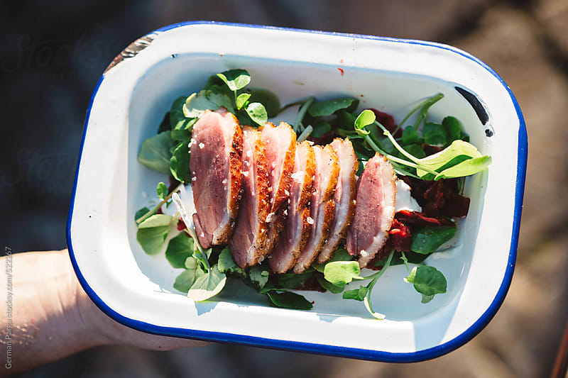 Serving of delicious duck breast with vegetables by German Parga for Stocksy United