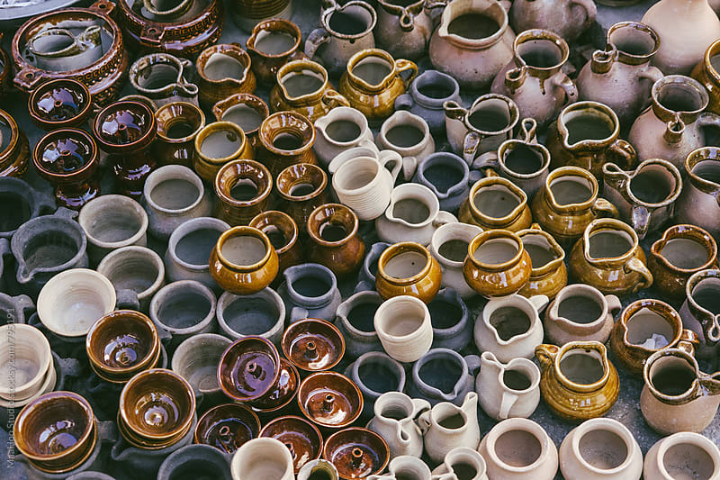 High angle view of pottery displayed outdoors by MaaHoo Studio for Stocksy United