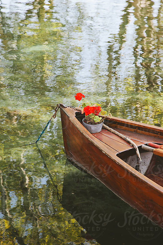 Beautiful wood boat with red flowers on a lake. by BONNINSTUDIO for Stocksy United
