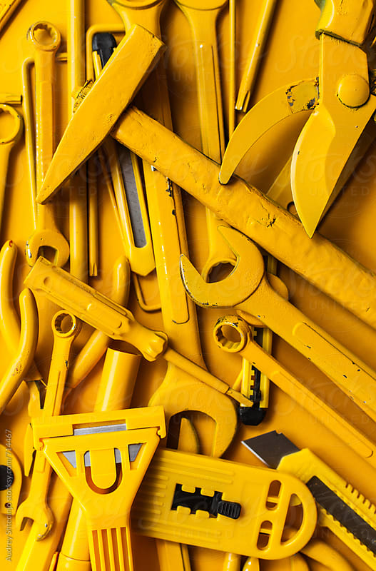 close up/detail of yellow work/handtools of a craftsman. by Audrey Shtecinjo for Stocksy United