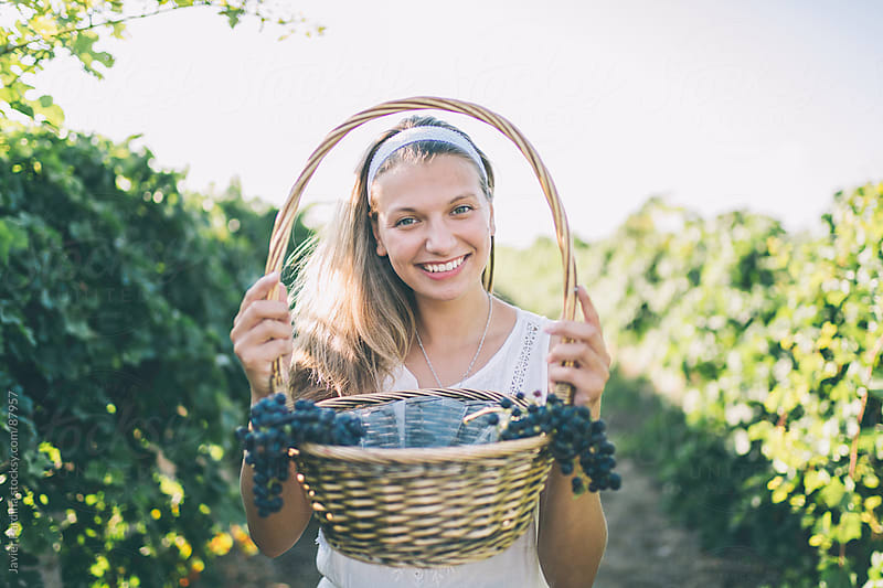 young girl picking grapes by Javier Pardina for Stocksy United