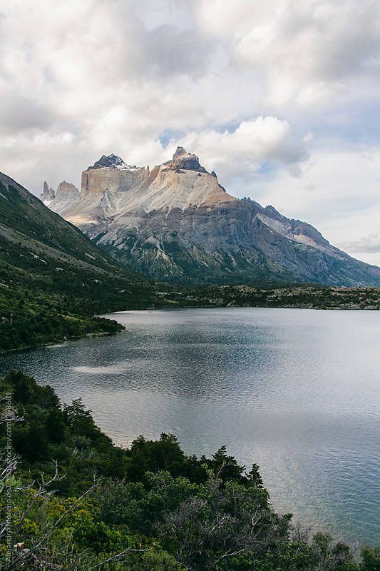 Mountain and lake in Torres del Paine, Chile. Patagonia travel by Alejandro Moreno de Carlos for Stocksy United