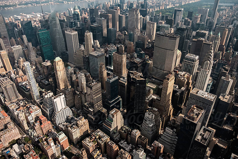 A view of Midtown Manhattan from a helicopter by Riley Joseph for Stocksy United