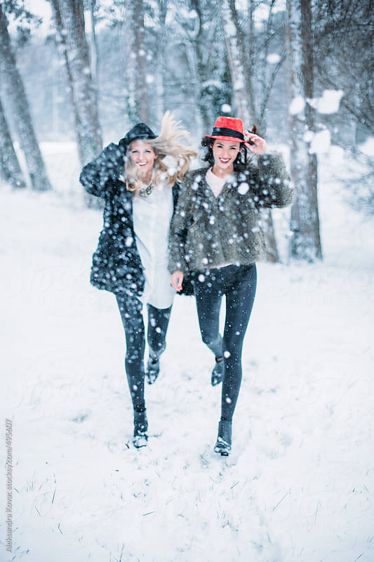 Girlfriends on a Winter Snow Day by Aleksandra Kovac for Stocksy United