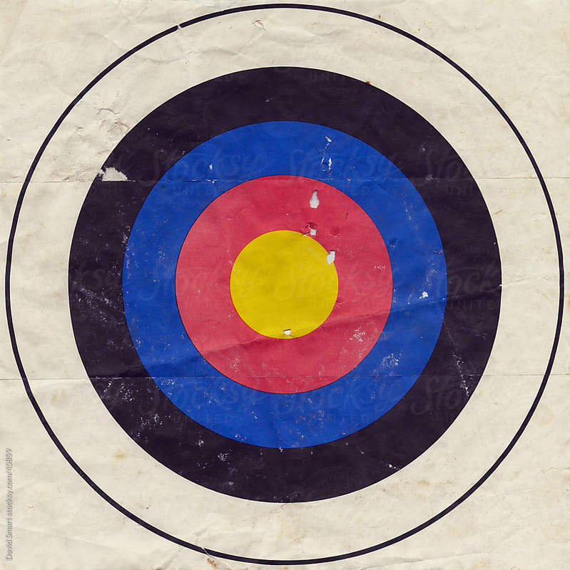 Used grungy paper bullseye target  by David Smart for Stocksy United