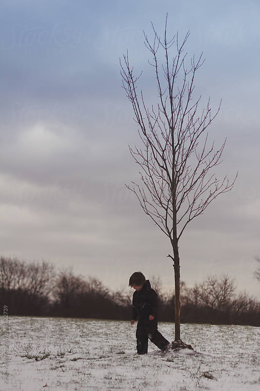 Young Boy Walking Near a Young Tree  by Kevin Keller for Stocksy United