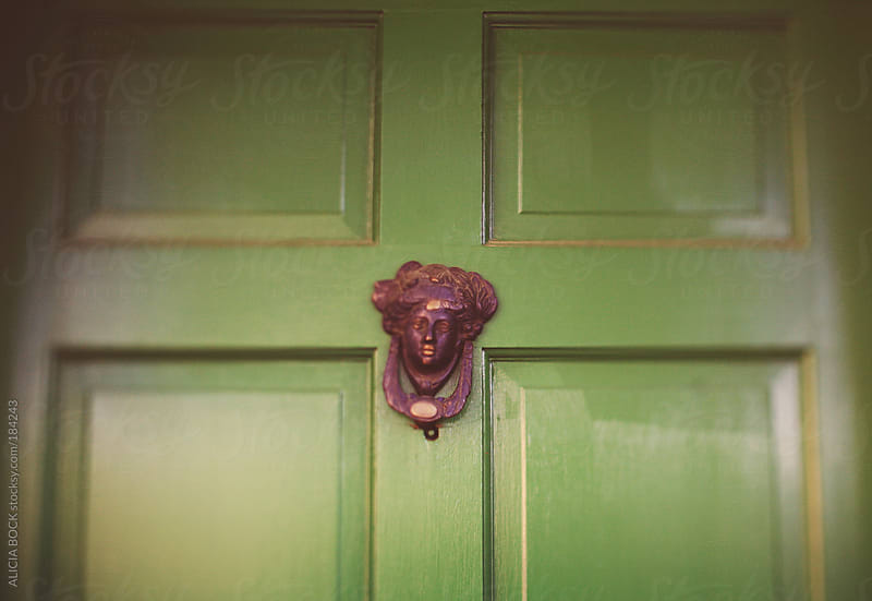 Vintage Brass Door Knocker On A Green Door In Savannah Georgia by ALICIA BOCK for Stocksy United