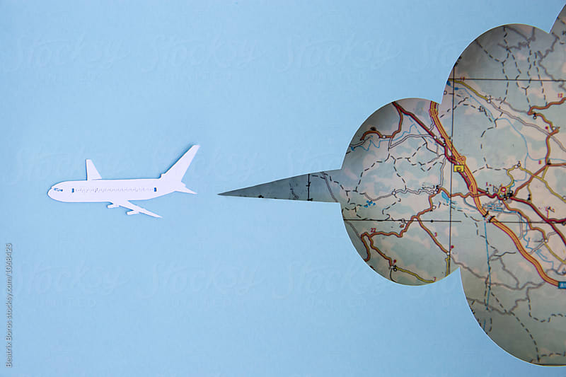 Travel concept made of paper with plane and map by Beatrix Boros for Stocksy United