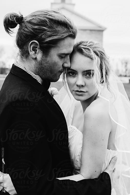 Black and White Bohemian Couple Wedding Portrait by William Blanton for Stocksy United