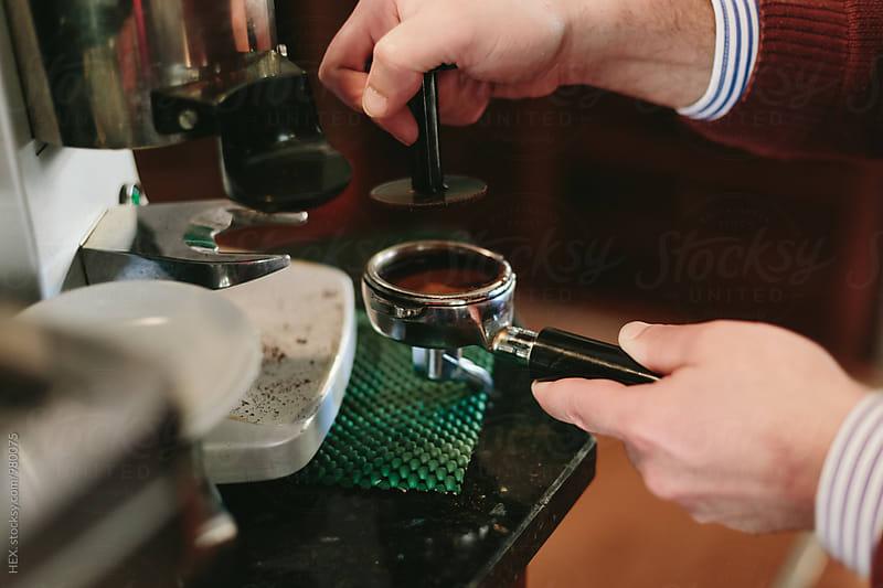 Barman Preparing Espresso Coffee by HEX. for Stocksy United