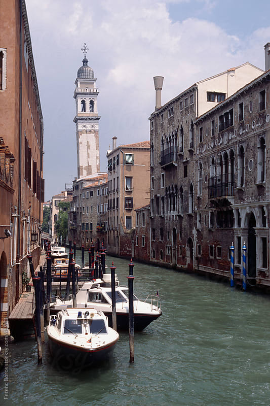 The leaning campanile of San Giorgio dei Greci in Venice by Ferenc Boros for Stocksy United