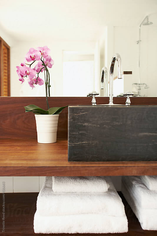 Sink and orchid flower in bathroom of hotel room by Trinette Reed for Stocksy United