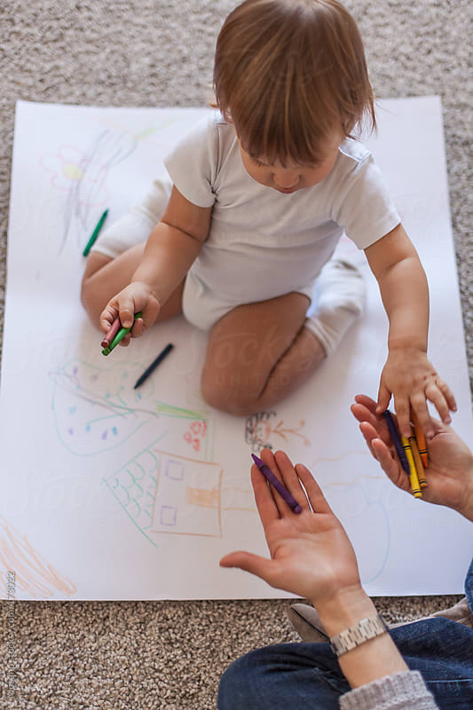 Baby Boy Drawing With Crayons by Mosuno for Stocksy United