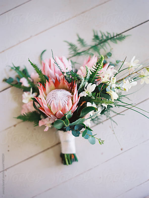 pink tropical floral bouquet by wendy laurel for Stocksy United