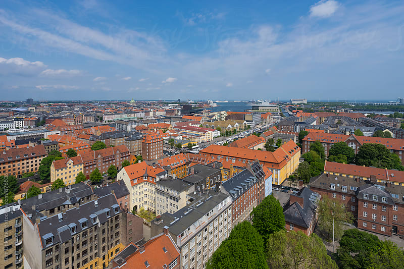 Copenhagen, Denmark - Wide Angle Panorama of the City on a Sunny Day by Tom Uhlenberg for Stocksy United