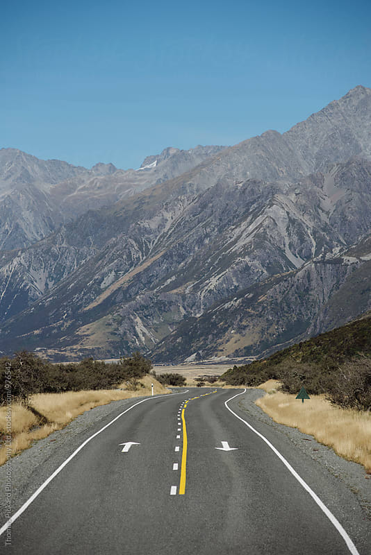 Road leading into Tasman Valley, Aoraki / Mt Cook National Park, New Zealand. by Thomas Pickard for Stocksy United
