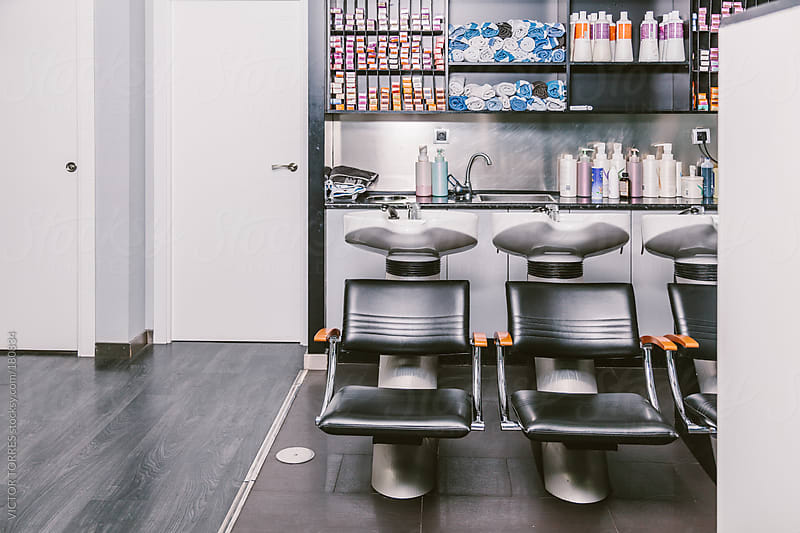 Modern Hairdressing Interior by VICTOR TORRES for Stocksy United