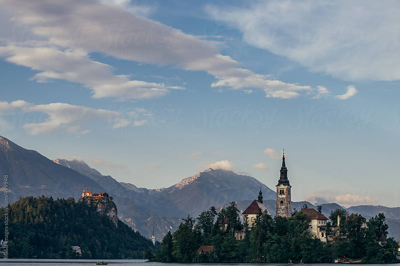 castle and church next to Bled lake by RG&B Images for Stocksy United