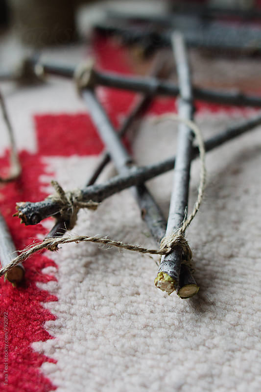 series of diy handmade twig stars project by Tana Teel for Stocksy United