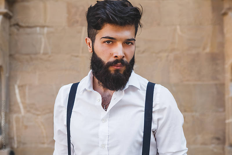 Portrait of a Serious Young Bearded Man in Italy by Giorgio Magini for Stocksy United