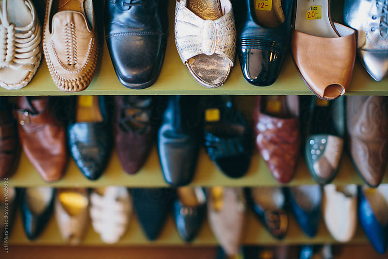Rack of dress shoes by Jeff Marsh for Stocksy United