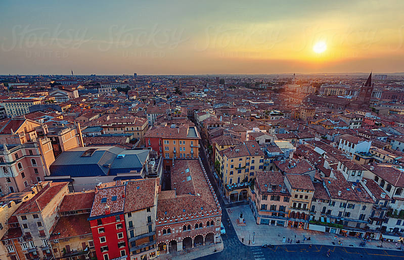 Aerial view of Verona, Italy by Good Vibrations Images for Stocksy United