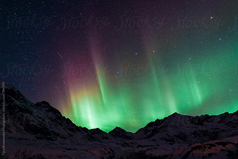 colorful aurora borealis spikes and the big dipper by Tara Romasanta for Stocksy United