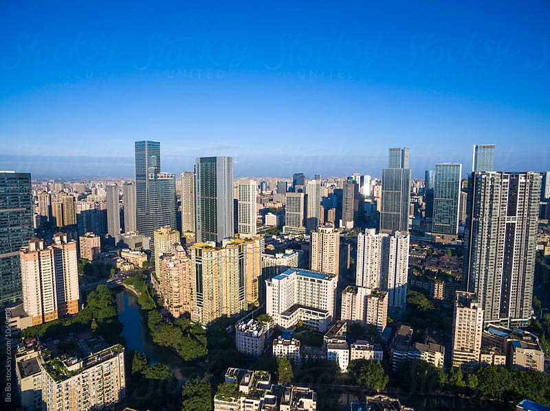 aerial view of Chengdu city of China by Bo Bo for Stocksy United