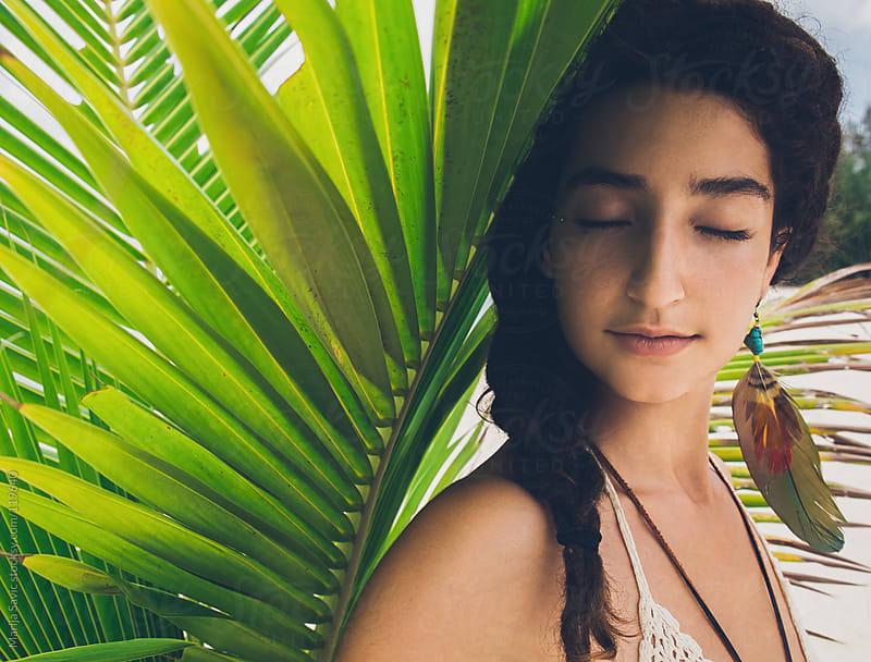 Woman enjoying in tropical garden. by Marija Savic for Stocksy United