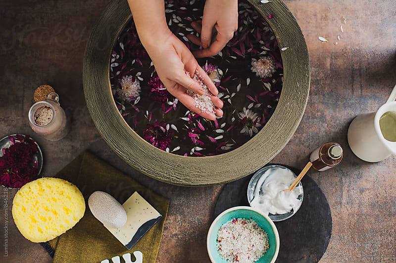 Hands of Woman Preparing a Flower Bath  by Lumina for Stocksy United