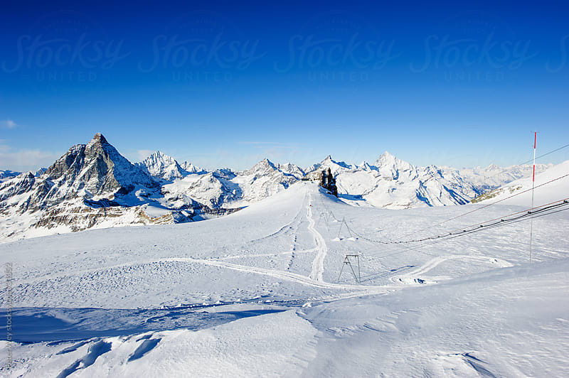 Panorama from Cobba di Rollin  Glacier with Matterhorn above Zer by Peter Wey for Stocksy United