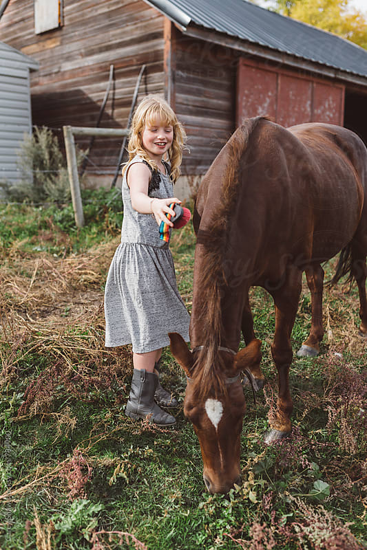 Young girl grooming her horse by Carey Shaw for Stocksy United