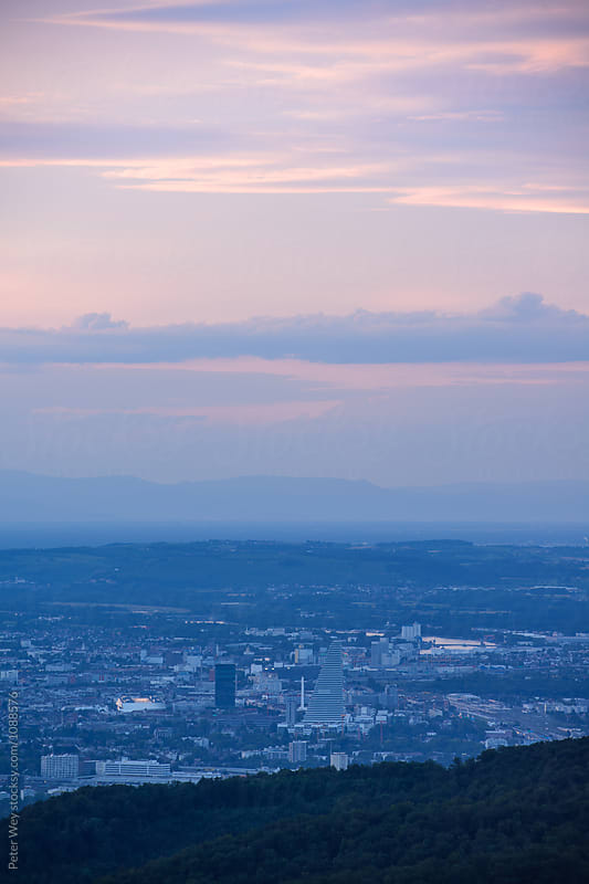 Sunset view over the city of Basel by Peter Wey for Stocksy United