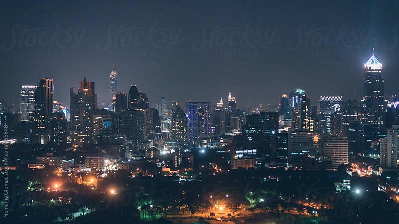 Panoramic View of Bangkok at Night by Nemanja Glumac for Stocksy United