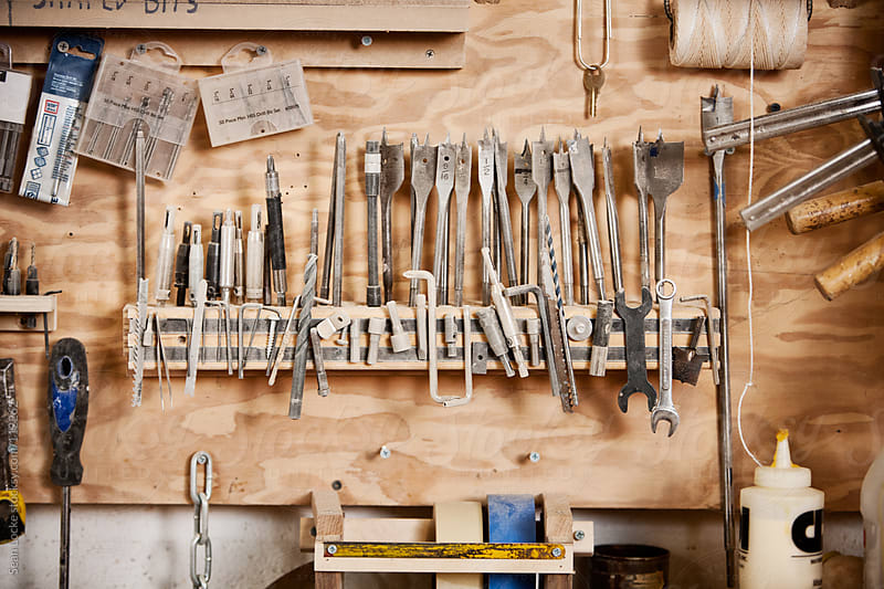 Woodworking: Rack Of Woodworking Tools by Sean Locke for Stocksy United