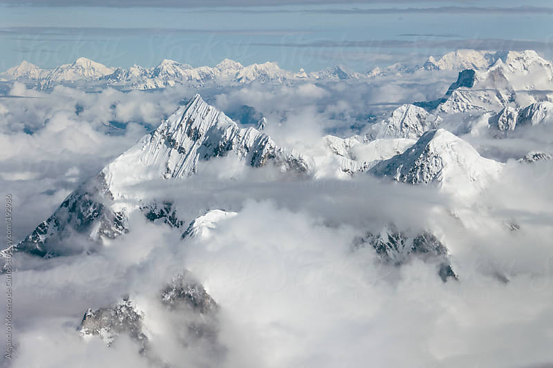 Himalaya mountain peaks and clouds. Aerial view by Alejandro Moreno de Carlos for Stocksy United
