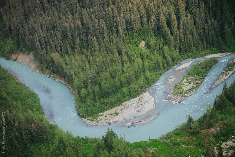 A Glacial River in Alaska From Above by Shelly Perry for Stocksy United