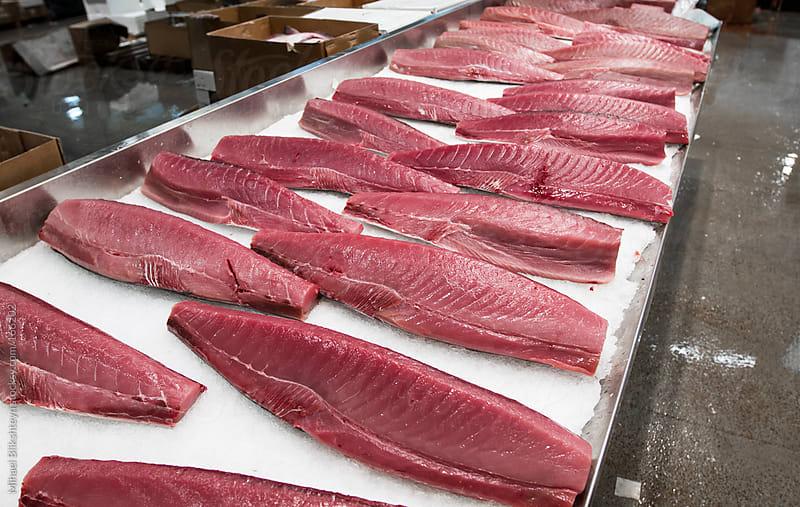 Tuna steaks for sale at a New York wholesale market by Mihael Blikshteyn for Stocksy United