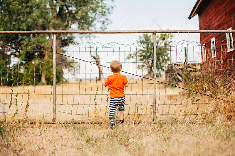 Blonde toddler boy in pajamas standing at a gate on a farm. by Jessica Byrum for Stocksy United