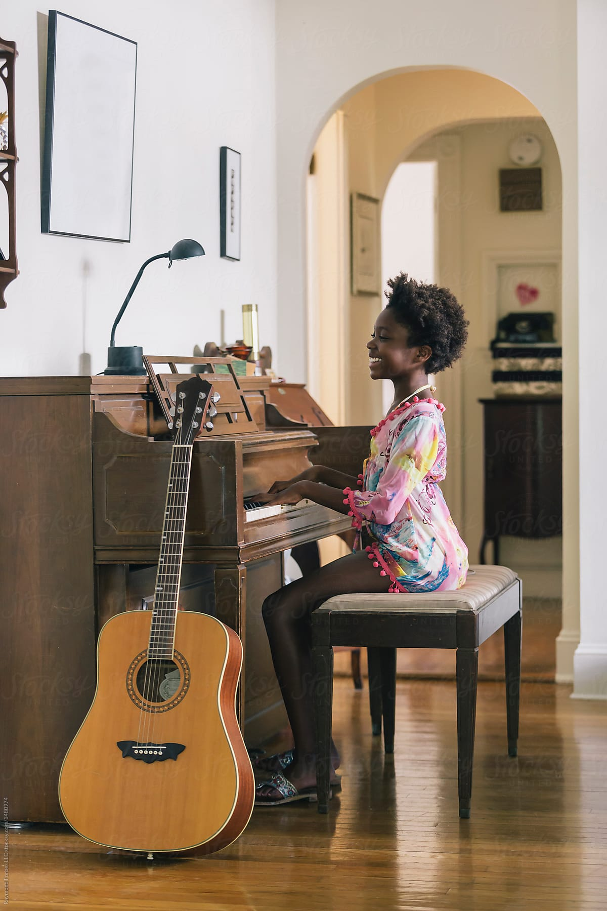 Incredible Smiling Black Girl Playing Piano At Home By Raymond Forbes Llc Natural Hairstyles Runnerswayorg