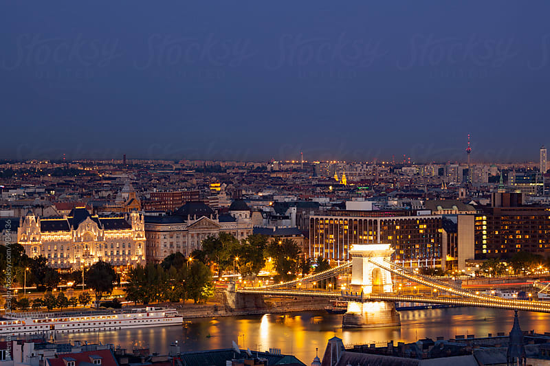 Budapest Night Skyline. by Mental Art + Design for Stocksy United